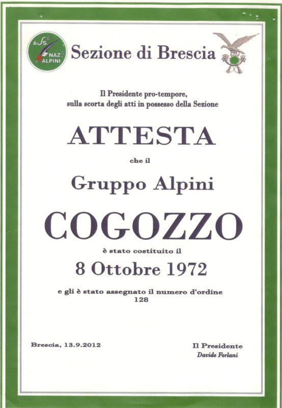Attestato di Costituzione del Gruppo Alpini Cogozzo